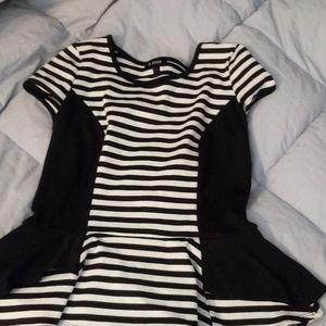 white and black stripped fit and flare shirt L